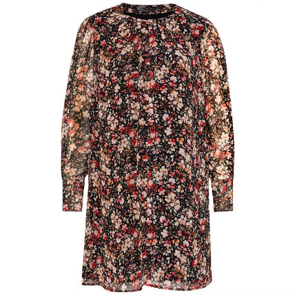 Crew Neck Short Flower Patterns Casual Style A-line Flared