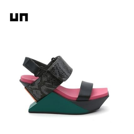 United Nude Strap Sandals Casual Style Bi-color Plain Leather