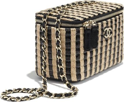 CHANEL Stripes Casual Style Vanity Bags Chain Party Style Logo