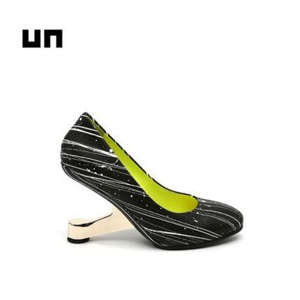 United Nude Round Toe Leather Party Style High Heel Pumps & Mules