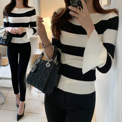 Stripes Casual Style Long Sleeves Plain Office Style