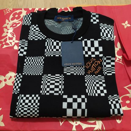 Louis Vuitton DAMIER Crew Neck Pullovers Nylon Street Style Long Sleeves Cotton