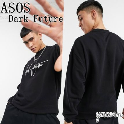 ASOS Sweatshirts Crew Neck Pullovers Street Style Long Sleeves Cotton Logo