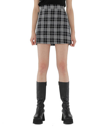 Short Other Plaid Patterns Street Style Mini Skirts