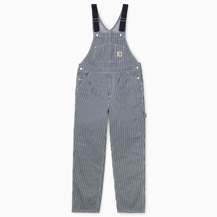Carhartt Stripes Unisex Denim Street Style Plain Cotton Overalls Logo