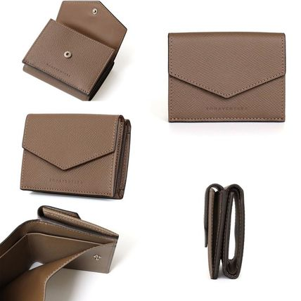 Plain Leather Folding Wallet Small Wallet Logo Icy Color