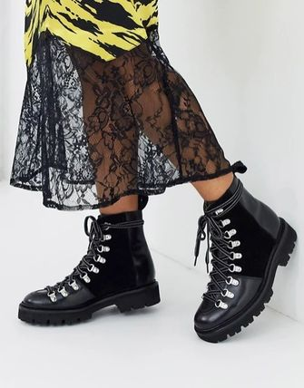 Platform Round Toe Rubber Sole Lace-up Casual Style Suede