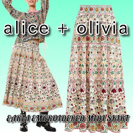 Alice+Olivia Flower Patterns Casual Style Linen Cotton Medium Party Style