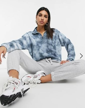 Short Tie-dye Long Sleeves Cotton High-Neck Cropped