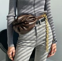 Casual Style 3WAY Chain Plain Leather Crossbody Hip Packs