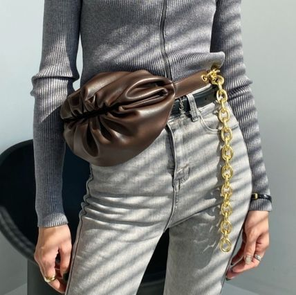 Crossbody Casual Style 3WAY Chain Plain Leather Hip Packs