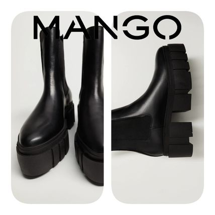 MANGO Casual Style Leather Elegant Style Ankle & Booties Boots