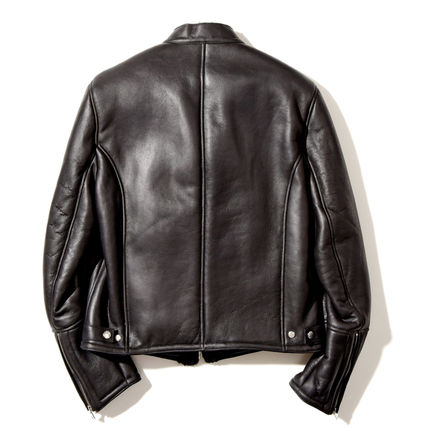 Short Street Style Plain Leather Logo Biker Jackets
