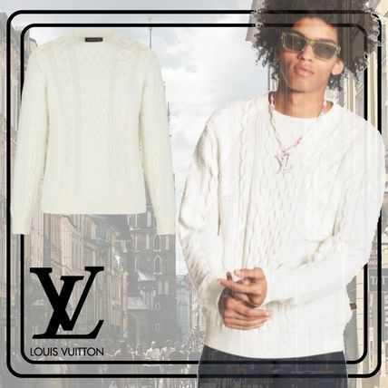 Louis Vuitton Vests & Gillets Crew Neck Cable Knit Pullovers Long Sleeves Cotton Luxury