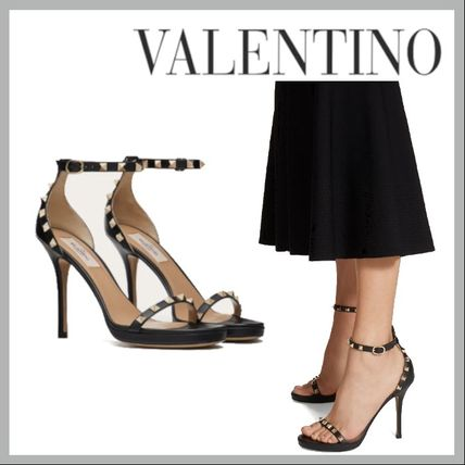 VALENTINO Strap Sandals Platform Casual Style Studded Plain Leather