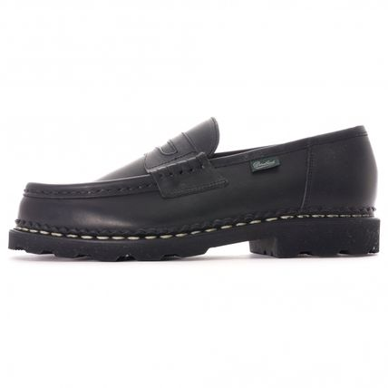 Plain Leather Street Style U Tips Loafers & Slip-ons