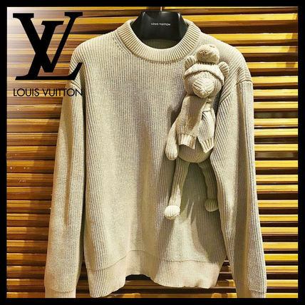 Louis Vuitton Sweaters Crew Neck Pullovers Unisex Blended Fabrics Street Style
