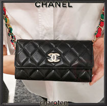 CHANEL CHAIN WALLET Casual Style Lambskin Blended Fabrics 3WAY Bi-color Chain