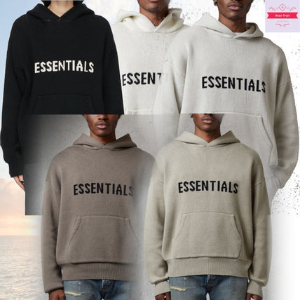 FEAR OF GOD ESSENTIALS Pullovers Street Style Long Sleeves Logo Hoodies
