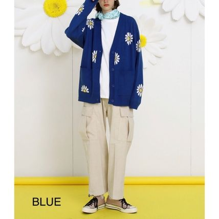Flower Patterns Unisex Street Style Oversized Cardigans