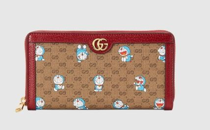 GUCCI Canvas Long Wallet  Logo Collaboration Leather Long Wallets