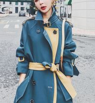 Casual Style Long Office Style Elegant Style Trench Coats