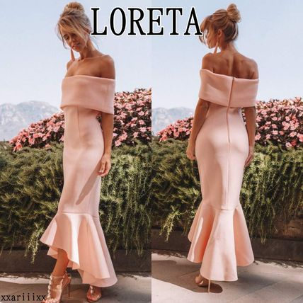Tight Flared Plain Long Party Style Elegant Style
