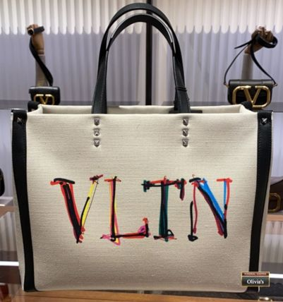 VALENTINO VLTN Unisex Canvas Street Style A4 Plain Leather Logo Totes