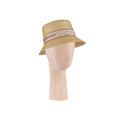 Christian Dior Blended Fabrics Straw Boaters Straw Hats
