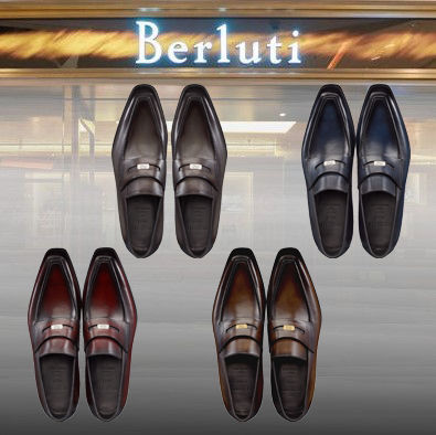 Berluti Logo Loafers Leather Loafers & Slip-ons