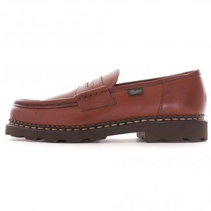 Logo Moccasin Loafers Plain Leather Street Style Handmade