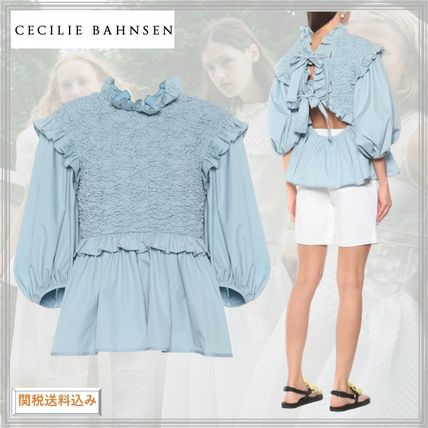CECILIE BAHNSEN Casual Style Cropped Plain Cotton Elegant Style Puff Sleeves