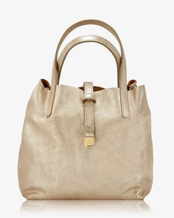Casual Style Calfskin Suede Leather Office Style Totes