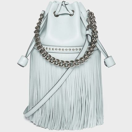 Casual Style Calfskin Studded 3WAY Plain Fringes Crossbody