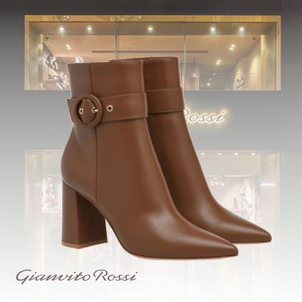 Casual Style Leather Elegant Style High Heel Boots