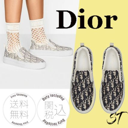 Christian Dior DIOR OBLIQUE Monogram Rubber Sole Street Style Slip-On Shoes