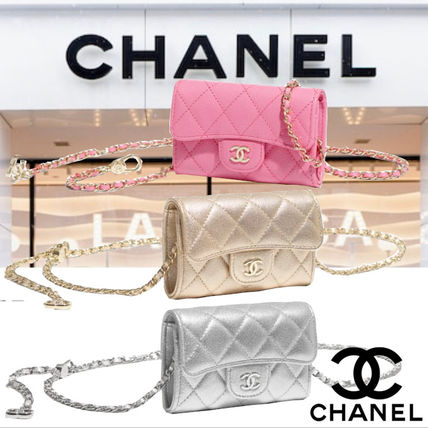 CHANEL Logo Icy Color Casual Style Calfskin Hip Packs