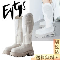 Eytys Logo Platform Plain Toe Mountain Boots Casual Style Suede