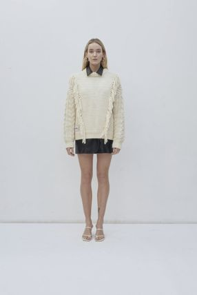 Long Sleeves Fringes V-neck & Crew neck