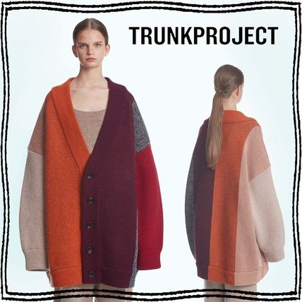 TRUNK PROJECT Button-down Stripes Unisex Wool Blended Fabrics Street Style