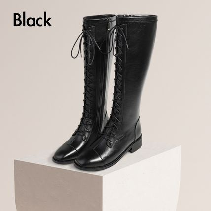 Square Toe Lace-up Casual Style Plain Leather Block Heels
