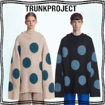 TRUNK PROJECT Crew Neck Dots Casual Style Unisex Nylon Blended Fabrics