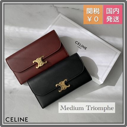 CELINE Triomphe Leather Logo Long Wallets