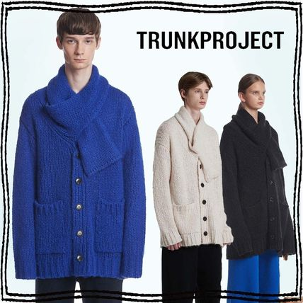 TRUNK PROJECT Cardigans Button-down Unisex Wool Nylon Blended Fabrics Street Style