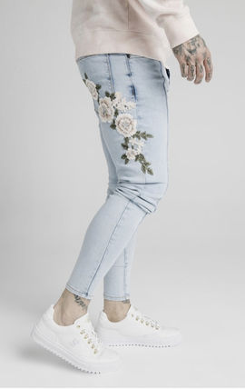 Flower Patterns Denim Street Style Plain Cotton Skinny Jeans