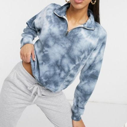 American Eagle Outfitters Short Tie-dye Long Sleeves Cotton High-Neck Cropped