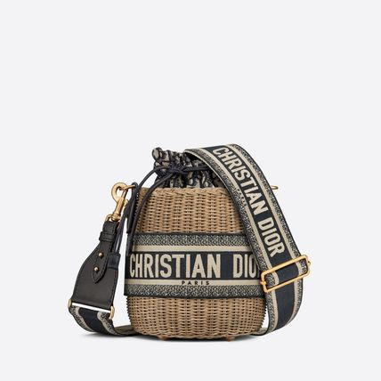 Christian Dior DIOR OBLIQUE 3WAY Crossbody Logo Straw Bags