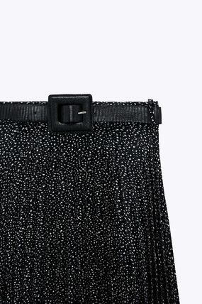 ZARA Dots Pleated Skirts Medium Office Style Elegant Style