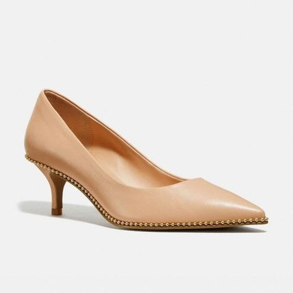 Coach Plain Leather Block Heels Elegant Style
