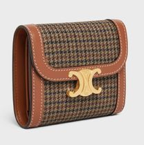 CELINE Triomphe Small Triomphe Wallet In Textile And Calfskin